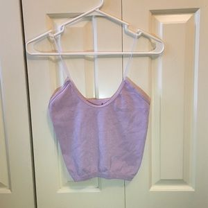 Free People Sparkle Lavender Cropped Tank Top
